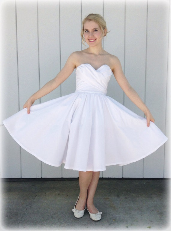Items similar to short wedding dress casual cotton sweet for Circle skirt wedding dress