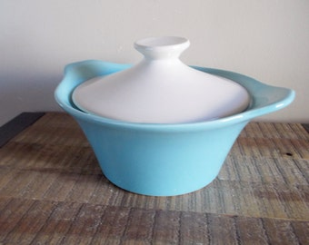 Vintage Shawnee Pottery Aqua Blue and White Covered Casserole