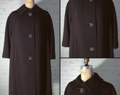 Vintage 1950s,1960s Chocolate Brown Winter Coat with Rhinestone Buttons, Women's Size Large, Designed by Ilene for Forstmann