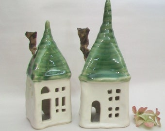 Fairy House/ Night Light - Squared Up  --  with a Green Roof -- 1 House - Shorter House - on the Left