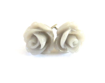Creamy Gray Rose Earrings- Surgical Steel or Titanium Posts- 10mmBlack Friday Sale 20% Off