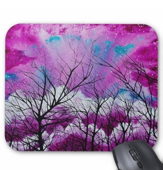 Mousepad Mouse Pad Fine Art Painting Into the Plum Cosmos Night Sky Stars Starry Pink Purple Teal Starry Trees Branches Silhouette Modern