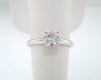 Solitaire Diamond Engagement Ring 0.50 Carat EGL Certified 14K White Gold Handmade