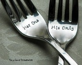 Custom Wedding Cake Forks, Her One His Only
