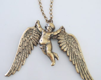 Vintage Necklace - Angel Necklace - Statement Necklace -  Brass jewelry - handmade jewelry