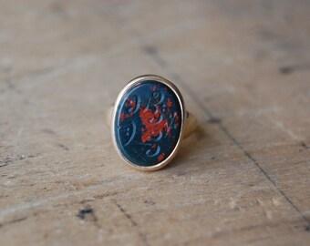 RESERVED // Antique 14K bloodstone Arabic engraved signet seal ring