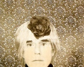 Andy, a portrait with flower hat, hand-pulled intaglio print by Alo