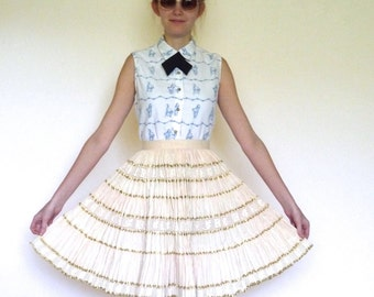 50s Cream Gold Striped Lace Full Circle Pleated Skirt xxs xs