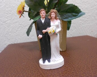 Chalkware Wedding Topper 1920s Great Gatsby Era Elegant Bride & Groom Beautiful  Antique Heirloom Of Elegance