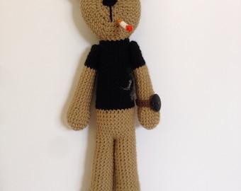 Jackson Pollock Bear, crochet bear doll, crocheted artist doll