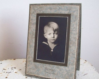Antique photo little boy in sailor suit Estherville Iowa WWII era standing photo free shipping to USA
