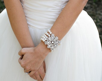 pearl  bracelet, bridal bracelet, pearl and crystal bracelet, wedding bracelet, rhinestone bracelet, bridal pearl bracelet, pearl, ATHENA