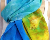 Silk scarf Beach Sand Shells crepe large long painted dyed unique ocean waves