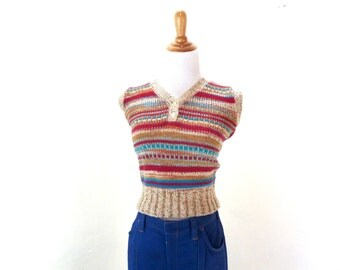 Vintage Knit Sweater Vest / Knit Tank Top / Womens Knit Vest / Sleeveless Sweater / Space Dye Sweater M/L