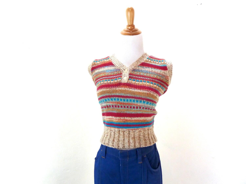 Knitting Pattern Womens Vest : Vintage Knit Sweater Vest / Knit Tank Top / Womens Knit Vest