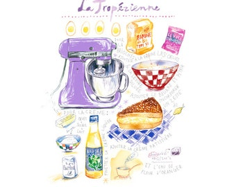 Kitchen print, French tropezienne recipe print, French cake poster, Food illustration print, Kitchen art print, Lilac kitchen decor Wall art