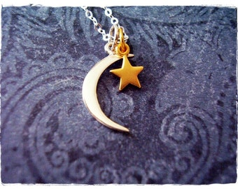 Crescent Moon and Star Necklace - Gold Star and Sterling Silver Crescent Moon Charms on a Sterling Silver Chain or Charms Only