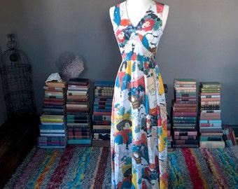 Vintage art nouveau PARISIAN SCENES arty novelty print summer MAXI dress
