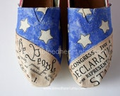 Youth - Flag Day Vintage American Flag with Declaration of Independence and Constitution - Custom Painted TOMS Shoes