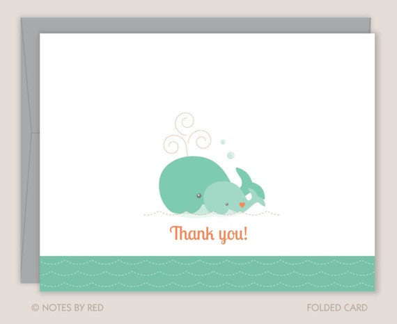 baby shower thank you note whale thank you note ocean sea thank you
