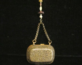 Victorian Gold Purse Pendant Necklace Scent Purse Antique Jewelry OOAK Necklace