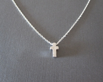 Silver Tiny Cross Necklace