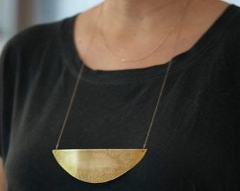 Half Moon/ Organic/ Layered Gold Necklace/Hammered Jewelry/Long Gold Necklace/Layered Jewelry/Statement Jewelry