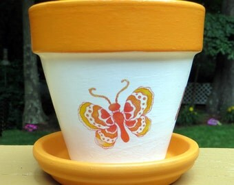 Colorful Butterfly Painted Flower Pot - 4 inch size