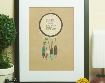 Dare Sweet Dreamer // Boho, Tribal, Typographic Print, Dreamcatcher, Dorm Room, Graduates, Baby Shower, Graduation Gift