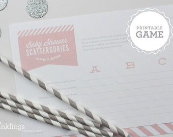 Printable Baby Shower Scattergories Sheet // Choose your color