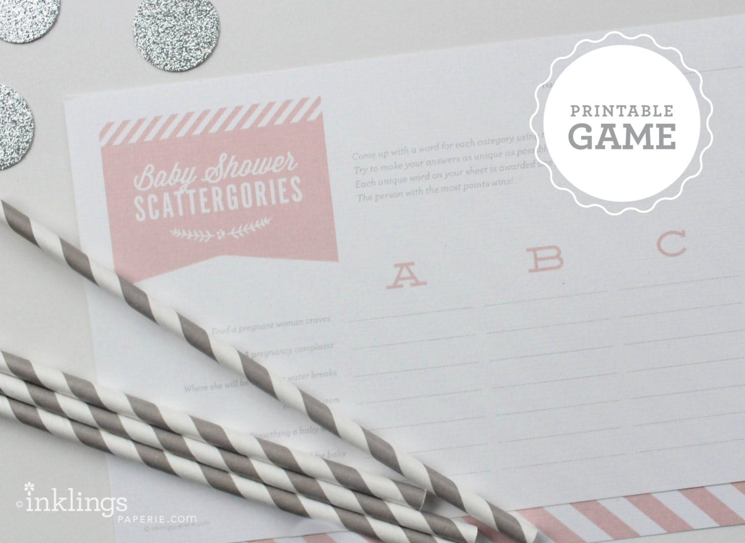 printable baby shower scattergories sheet choose your color