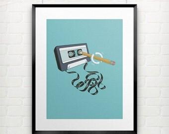 80s Art | Hipster Art Print | Funny Wall Art | 1980s Nostalgia | Retro Music | Funny Illustration | Music Lover Gift | Cassette Tape Pencil