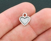 20 Heart Charms Antique Silver Tone - SC4201