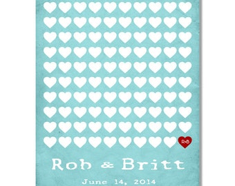 Heart Guestbook Alternative Print.Rustic Style Wedding To Be Personalized With Guest's Signatures - 16x20 - 100 Signature Wedding Guest Book