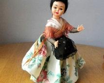 "Vintage 9"" Doll - Oriental Doll - Costume Doll - 1950's Doll"