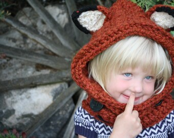 Fox Hooded Cowl Hat - Red Fox Cowl - Hooded Scarf Hat - Fox Hooded Cowl Hat - Children's Hooded Cowl Photography Prop  -by