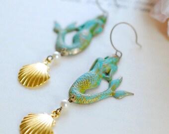 Mermaid Earrings. Patina Verdigris Mermaid Earrings, Gold Seashell Earrings, Mermaid Jewelry, Beach Wedding Jewelry, Long Statement Earrings
