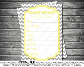 Instant Download Baby Stats & Prediction Card - Chevron, Yellow, Gray, Printable, Digital