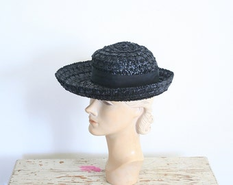 vintage 50s ladies woven black straw hat - summer brim / Gene Doris - New York / 1950s - school girl