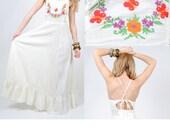 Backless Maxi Dress - Bohemian Hippie Long Maxi Dress - Floral Festival Dress - Small - Medium
