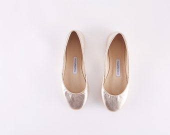 Gold Leather Ballet Flats | Ballerina Flats | Gold Leather Shoes | Women's Flat Shoes | Gold Dust...Ready to Ship