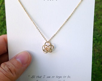 Love You Mom Necklace / Delicate Knot Necklace / Gift for Mom / Gold Knot Necklace / Silver Knot Necklace