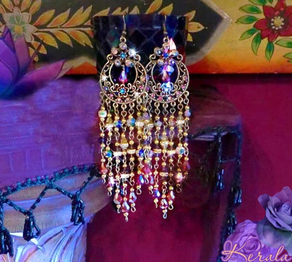Sparkling Crystal Block Ring Chandelier: Long Sparkling Crystal Chandelier Earrings Colorful By Kerala