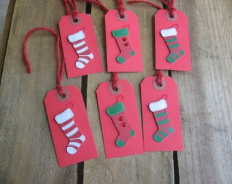 Christmas Stocking Gift Tags, Set of SIX, Red Gift Tags, Holiday Gift Tags, Gift Embellishments, Stockings, Gift Wrap, Gifts SnowNoseCrafts