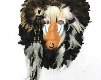 Indian Headdress Mask Folk Art Feathers & War Paint Vintage