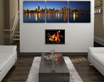 Chicago Skyline Canvas Set, Chicago Panoramic Tryptic, Chicago Art, Chicago Picture,  Chicago Canvas, Chicago Wall art