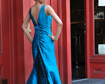 SALE Turquoise Shantung V-neck Long Fit-and-Flare Dress with Black Lace Train