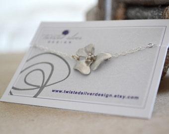 Simple Silver Cherry Blossom Flower Bracelet, Sterling Silver Chain, Cherry Bracelet, Gift Under 20