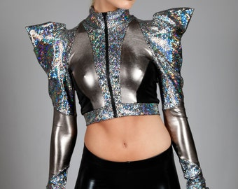 Holographic Bolero Jacket, Puffy Pointy Sleeves, Futuristic Stage Wear, Glam Rock Clothing, Cropped Spandex Zip-Up Sweater, by LENA QUIST