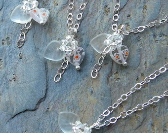 Dainty Sweetheart Necklace in Silver and Millefiori Glass, Bridesmaid Gifts, Sweetest Valentine N114